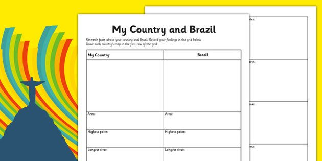 Rio Olympics 2016 My Country and Brazil Research Activity Sheet - Rio, Olympics, 2016, country, factfile, Brazil, geography