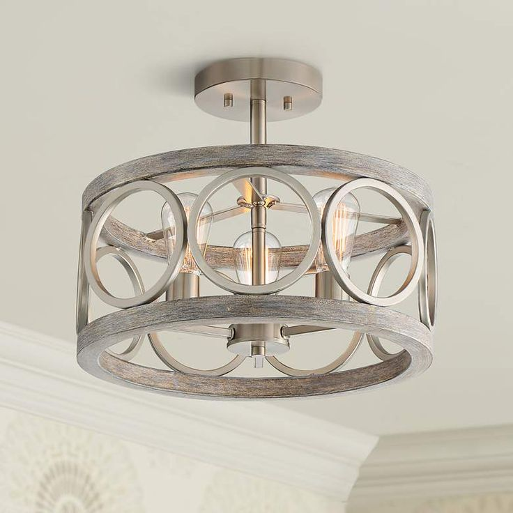 Charleston Wide Brushed Nickel Led Ceiling Light - F Lamps