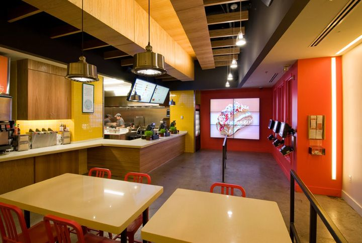 the wood, red, orange and yellow | Be Right Burger restaurant by Core Architecture, Washington, DC