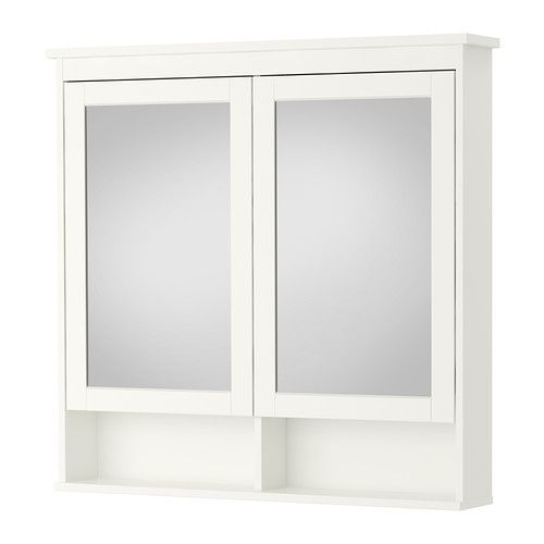 HEMNES Spegelskåp med 2 dörrar, vit vit 103x16x98 cm