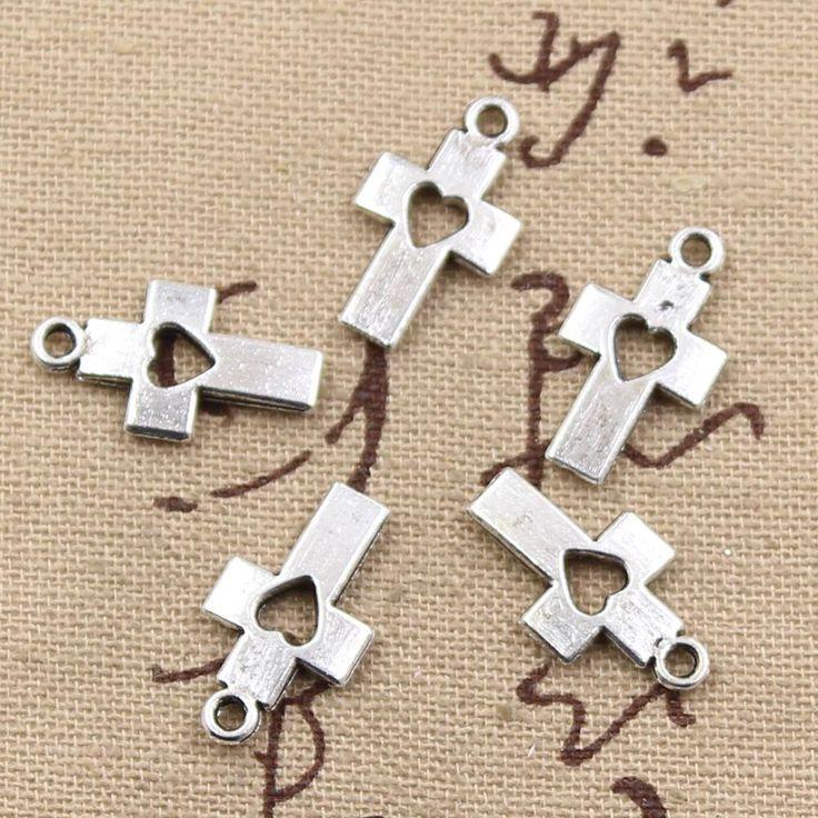 99Cents 12pcs Charms cross heart 18*10mm Antique Making pendant fit,Vintage Tibetan Silver,DIY bracelet necklace