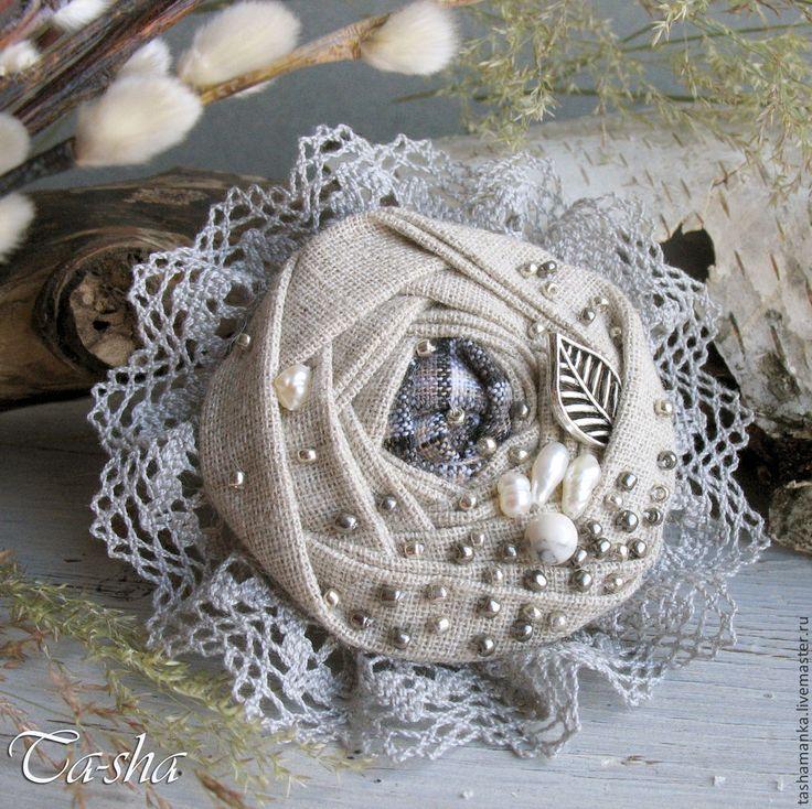"""Купить """"Вербочка"""" бохо брошь, цветы из ткани, украшение - брошь, броши из ткани, брошь цветок"""