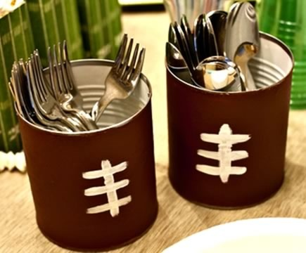 football party utensil holders out of cans