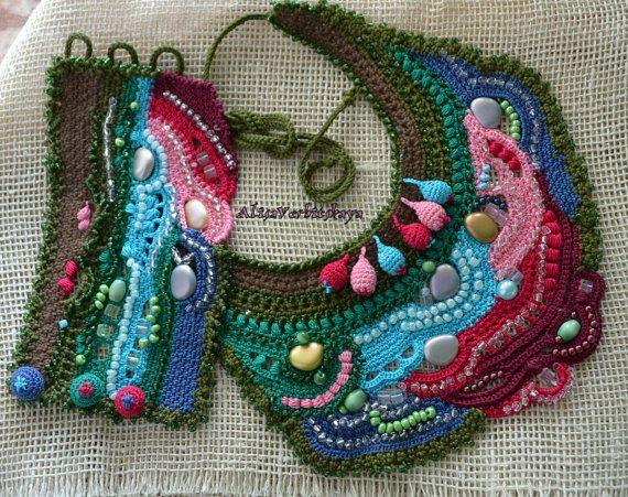 Bracelets, bangles, knitted bib necklace, necklace, boho, knitted decoration.