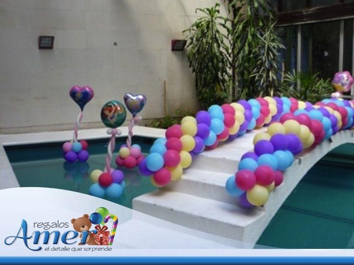 Alberca decorada por decoraciones con globo amer m xico - Decoraciones con globos ...