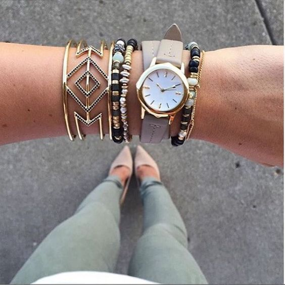 Fabulously layered bracelets for an effortlessly casual look - Artisan Stretch, Pave Spinx, and Icon convertible wrap watch http://www.stelladot.com/sites/jennifershaffer