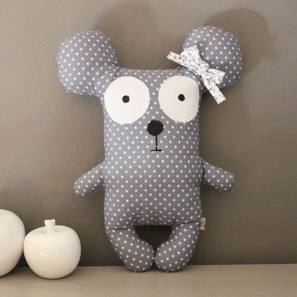 Doudou Sidonie la souris grise à pois blancs : Jeux, peluches, doudous par zole