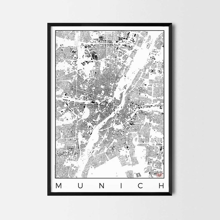 Munich schwarzplan map art city posters. Unique interior decor idea for offices art posters or kitchen art prints.  Minimalist city art gifts for travelers as framed art or canvas wall art. Urban plan map style. print, poster, gift | CityArtPosters.com