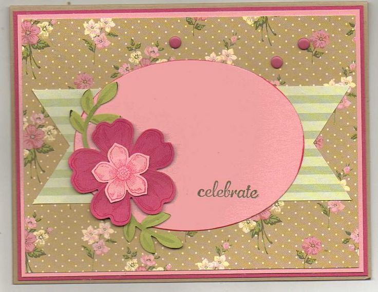 Vintage Flowers Birthday Cards ~ Spring composition with pink flowers rose and gift box on vintage