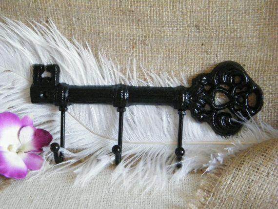 Wall Hook Key Holder Jewelry Holder Black Skeleton By