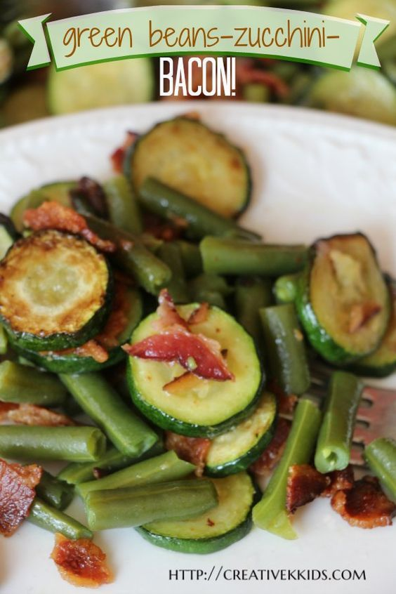 Easy to make green bean & zucchini side dish with bacon. Perfect for potlucks and any summer meal.