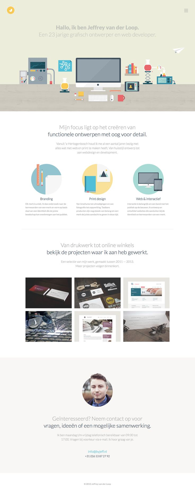 Clean responsive flat design in this one page portfolio for Dutch graphic designer and web developer Jeffrey van der Loop. Lovely little touch with the hair sticking out of the circle profile image.