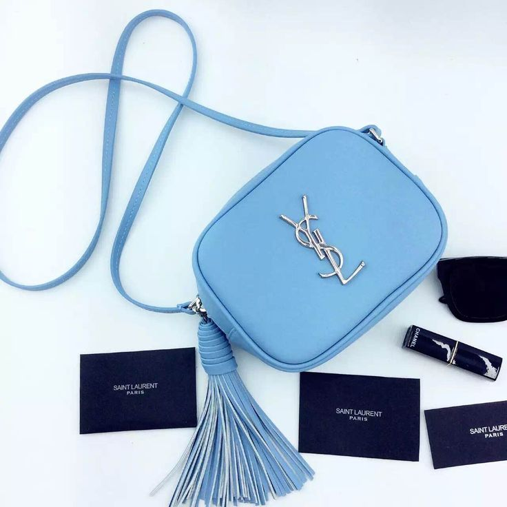 Saint Laurent Monogram Saint Laurent Blogger Bag In Sky Blue Leather