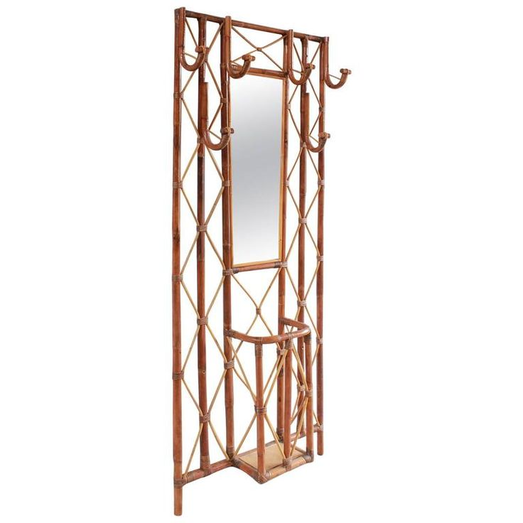 French Bamboo Tree Coat Rack with Built in Mirror and Umbrella Stand   From a unique collection of antique and modern coat-racks-stands at https://www.1stdibs.com/furniture/more-furniture-collectibles/racks-stands/coat-racks-stands/