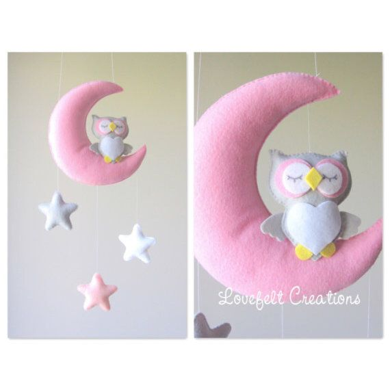 Baby mobile Moon mobile pink mobile Baby by lovefeltmobiles