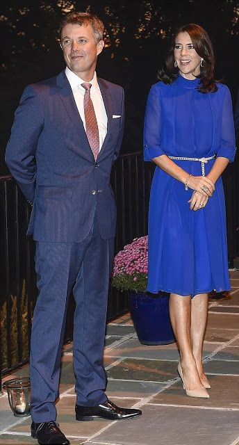 Crown Princess Mary of Denmark donned a bold royal blue jumpsuit by luxury women's brand, YDE, which is based in Copenhagen as she visited the Danish ambassador's residence in Washington, D.C. with her husband Danish Crown Prince Frederik.