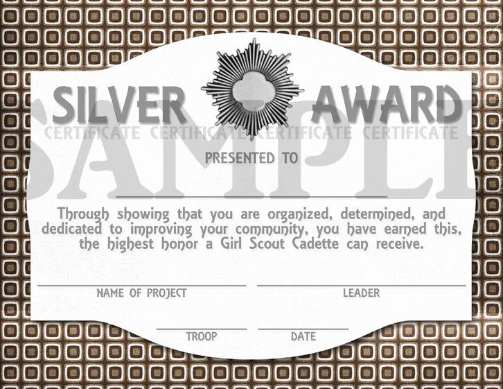 girl scouts cadette silver award certificate via etsy girl scouts cadette pinterest. Black Bedroom Furniture Sets. Home Design Ideas