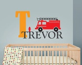 Fire Engine decal with name, Firefighter boys room, Nursery Wall Vinyl