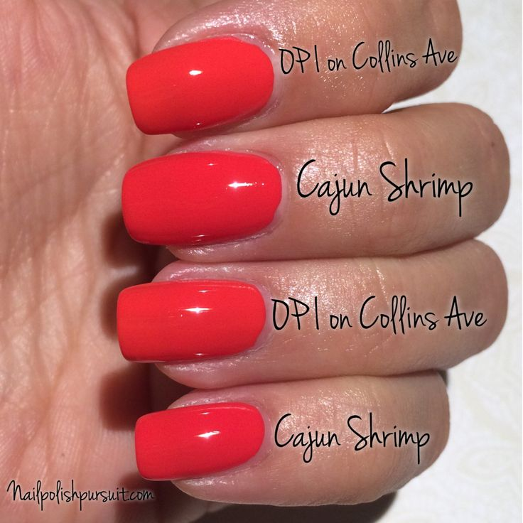 OPI on Collins Ave vs Cajun Shrimp both by OPI