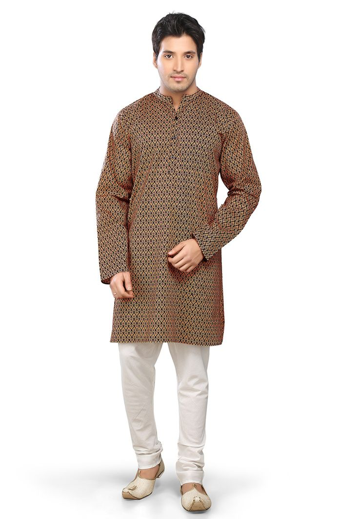 BEIGE AND BLACK COTTON READYMADE KURTA WITH CHURIDAR