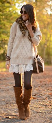 oversized sweater + lace skirt + scarf + leggings/tights + boots. I would totally wear this when I want to be comfy on a winter day. I love the layering.