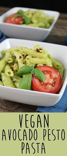 Creamy Vegan Avocado Pesto Pasta. Less than 30 minutes to cook. Super healthy and delicious! #veganpasta #pestopasta