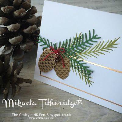 Name cards - Mikaela Titheridge, Independent Stampin' Up! Demonstrator, The Crafty oINK Pen. Christmas Pines Sneak Peek for the Stampin' Creative Blog Hop Aug 2016. Supplies thecraftyoinkpen.stampinup.net