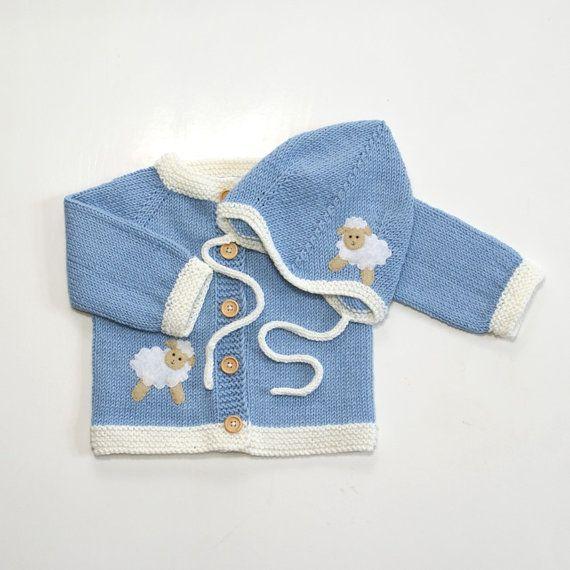 Gestrickte jungen blau Baby set mit stricken Baby Set mit weißen Schaf Lamm MADE TO ORDER