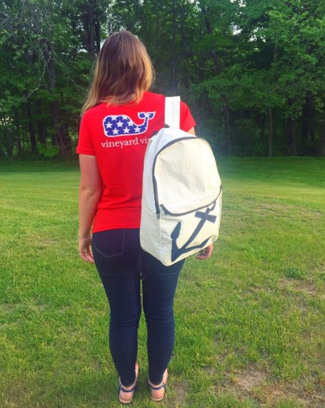 Navy Anchor Backpack #seabagsighting by Instagram user @mainely_erin