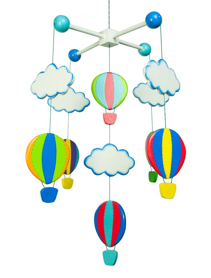 Goldfish Mobile Balloon is a colourful and happy wooden mobile with pretty ballons and clouds. This wooden mobile would suit any baby or childs bedroom or playroom. Its simple design and strong colours are pleasing to the eye and very decorative. This Balloon mobile has beed lovingly handmade made clever artisans in Indonesia..especially designed by Goldfishgifts. Size aprox 35cm long