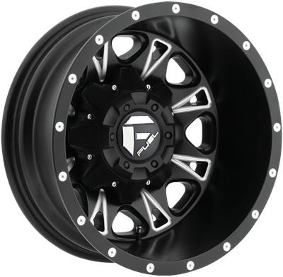 Fuel Off-Road Throttle Rear Dually Wheel - Black & Milled