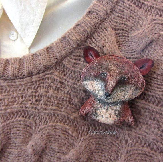 Fox brooch-fox pin-fox badge-fox accessory-maroon от Chelovebriki