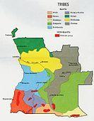 Angola ethnic groups map.