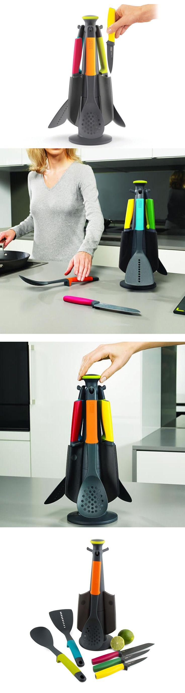 Originální rotační stojan se 4 kuchyňskými nástroji a 3 noži ve veselých barvech.  Nástroje s integrovanou podpěrou omezující znečištění pracovní plochy. Pracovní části nástrojů z nylonu – vhodné i pro nepřilnavé povrchy.