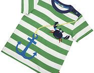 Lovely green stripe t-shirt featuring applique anchor and crab detailing - looks great with the reversible shorts!