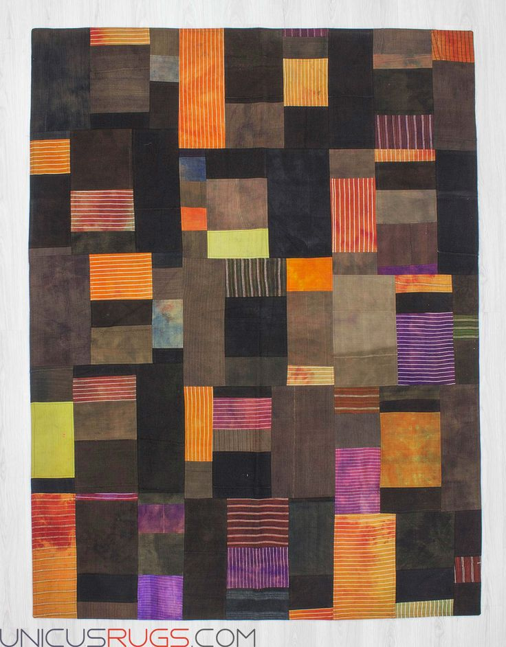 """Decorative kilim patchwork made from handwoven kilim pieces and backed with good quality cotton fabric as reinforcement. In very good condition. Width: 5' 11"""" - Length: 7' 10"""" PATCHWORKS"""