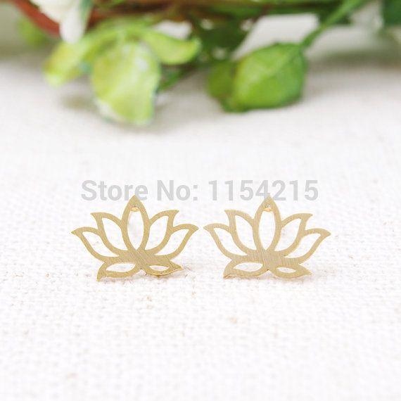 새로운 패션 골드, 실버 및 골드 연꽃 스터드 귀걸이, 꽃 스터드 귀걸이, 우미 스터드 EY-E021