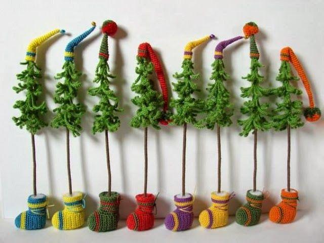 Patrones Crochet: Arboles de Navidad Cadenetas de Crochet
