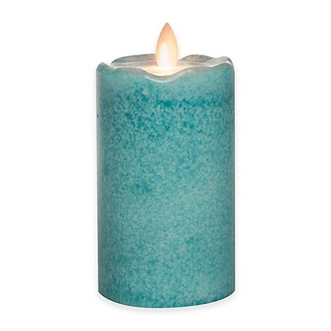 bed bath and beyond lighting. mirage flickering flame led pillar candleby candle impressions in light blue at bed bath and beyond lighting b