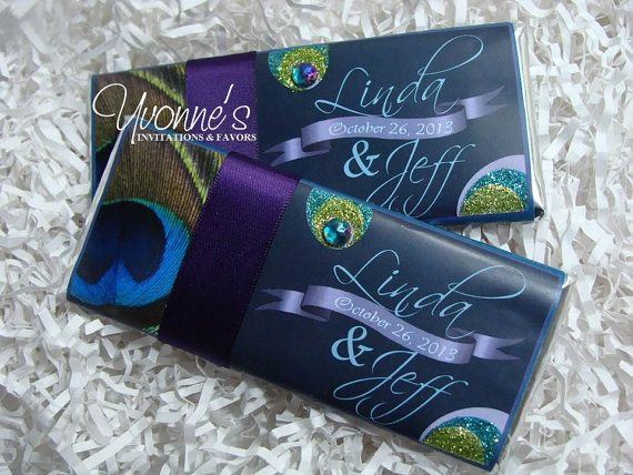 Peacock Grandeur Candy Bar Favor by CandyBarBoutique on Etsy, $1.25-$2.25 (price of wrapper only)