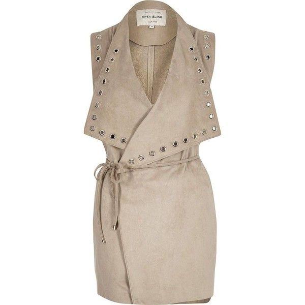 River Island Stone eyelet sleeveless jacket ($31) ❤ liked on Polyvore featuring outerwear, jackets, sale, sleeveless jacket, no sleeve jacket, river island, river island jacket and eyelet jacket