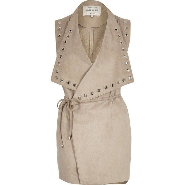 River Island Stone eyelet sleeveless jacket (€29) ❤ liked on Polyvore featuring outerwear, jackets, sale, tall jacket, pink jacket, river island, sleeveless jackets and no sleeve jacket