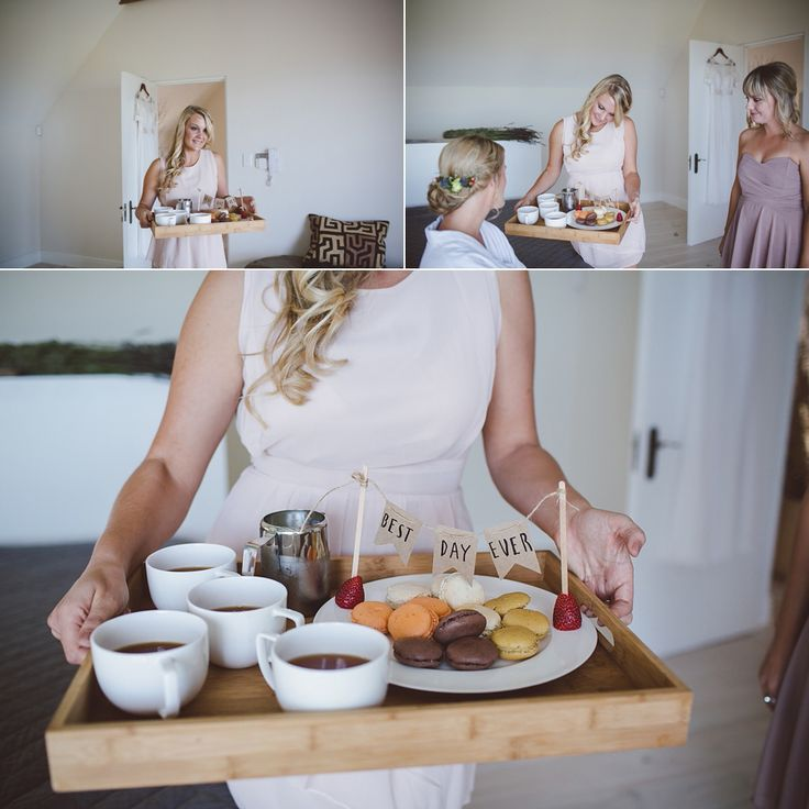 Surprising the bride with some coffee/tea & macaroons of course! | Kevin & Lindsay's wedding @ 401 Rozendal, Stellenbosch, South Africa || www.kikitography.com