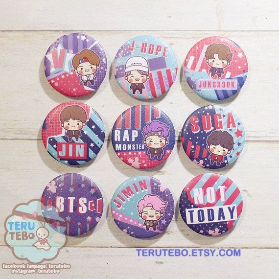 """Set of three 1/"""" BTS pins buttons band"""
