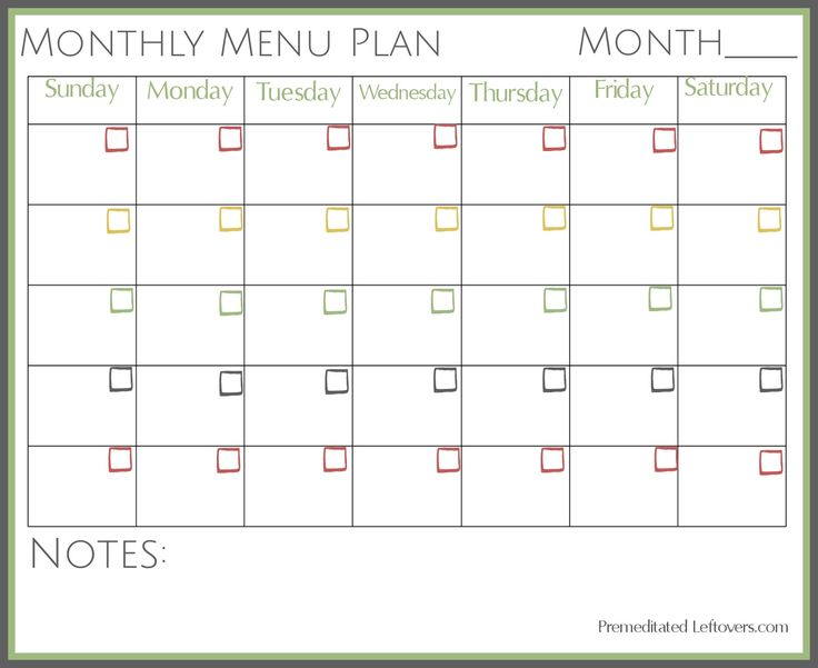 free printable monthly menu plan  with images