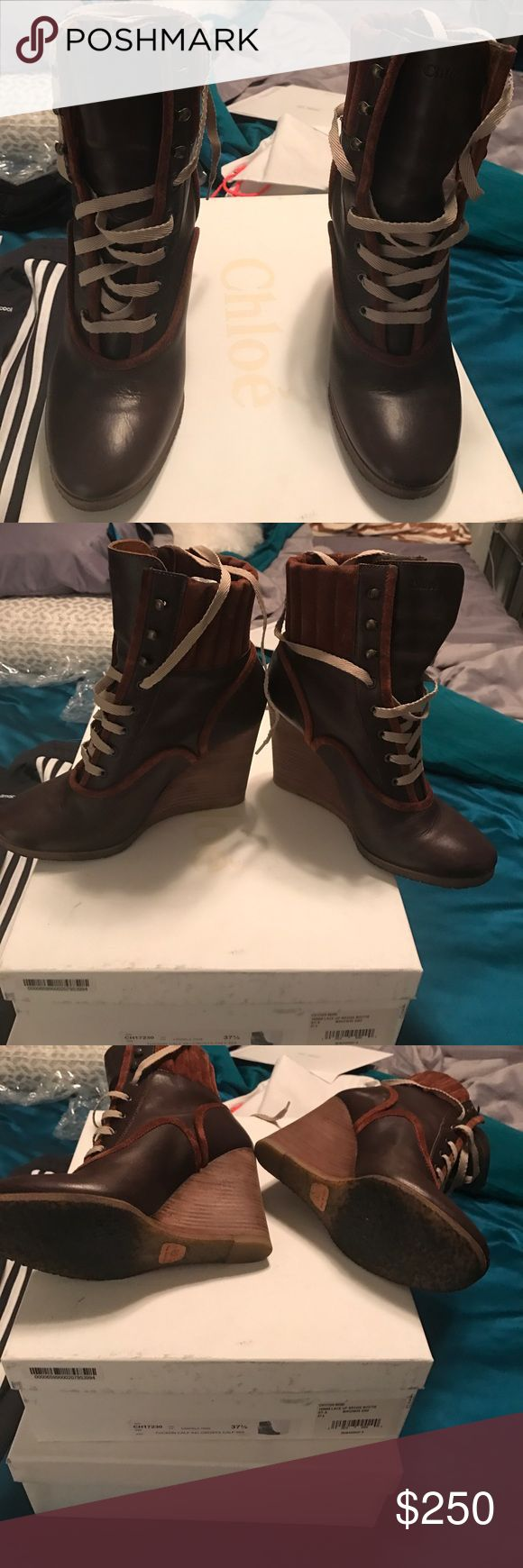 Chloe wedge boot Chloe brown lace up boot Chloe Shoes Wedges