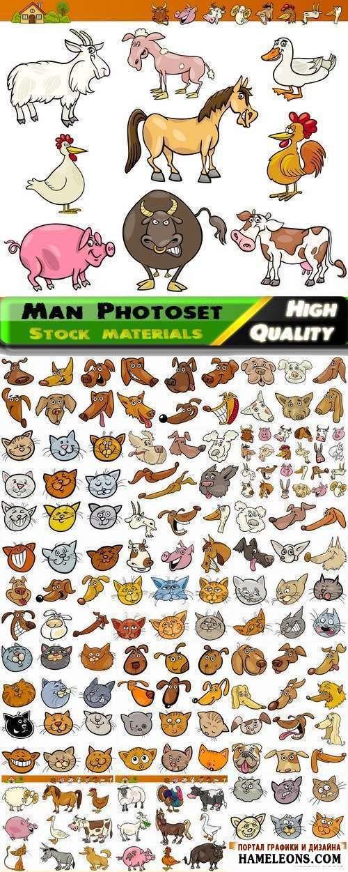 Забавные рисованные животные в векторе   Funny cartoon animals vector