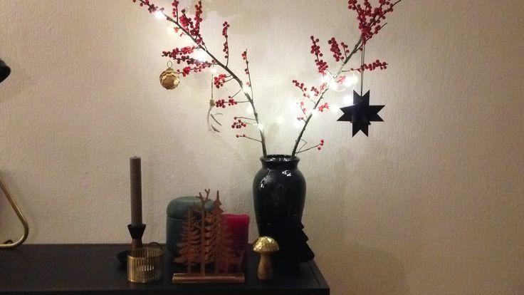 Beeren Zweig/ Lichterkette/ Weihnachtsdekoration