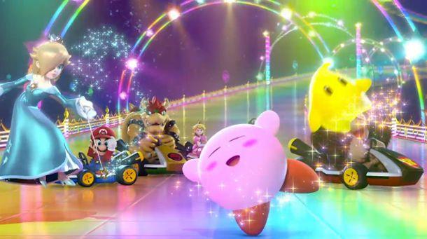 Rosalina waving her magic wand on Kirby and Luma, as Mario Kart racers look on - Super Smash Bros >> look at Kirby, so cute!!