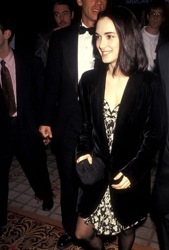 Winona Ryder in a blazer and dress combo - Why Winona Ryder's '90s looks are still our fashion inspo